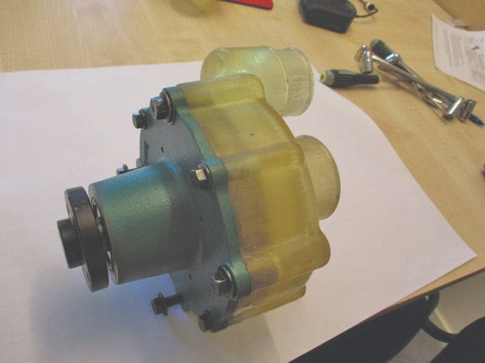Housing installed on a water pump.